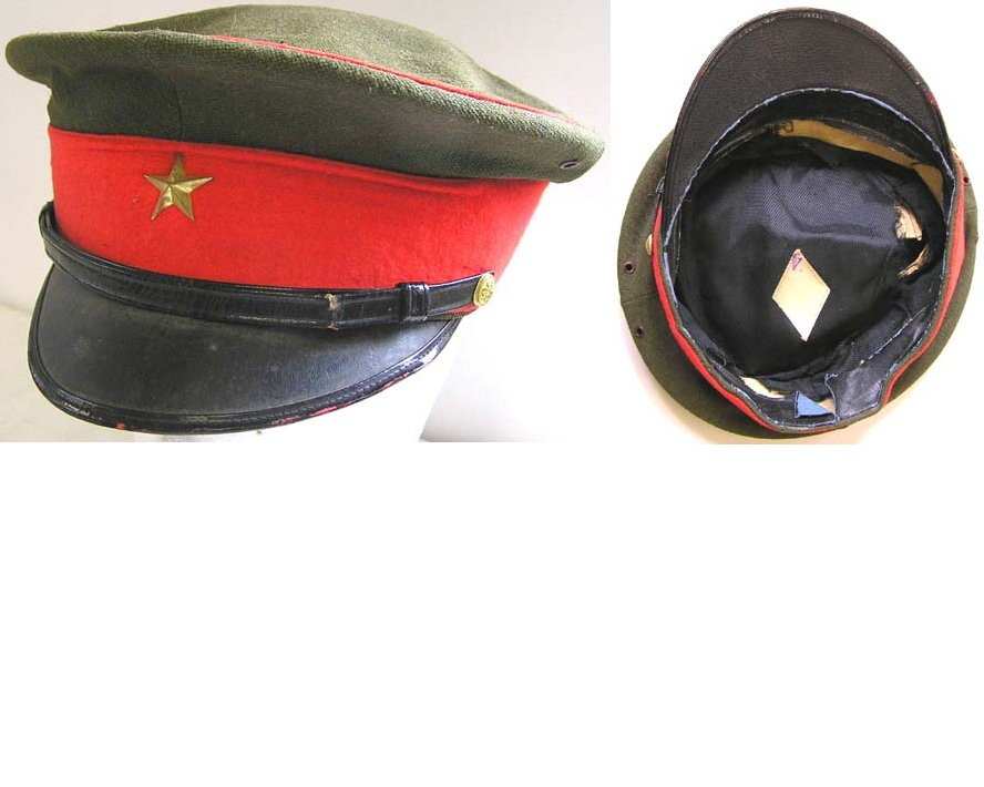 AXIS037. JAPANESE WWII INFANTRY OFFICERS PEAKED CAP, some wear