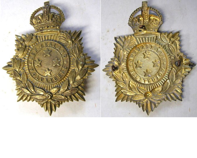 B02/003. NEW ZEALAND VOLUNTEERS helmet plate, 1901