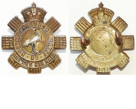 B02/134. NORTH CANTERBURY BATTALION right collar badge, bi-metal
