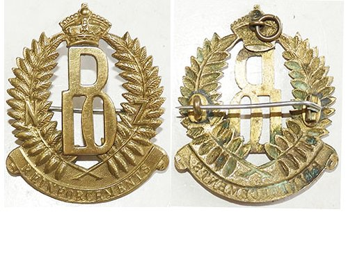 B04/026. 10th REINFOREMENTS cap badge, D over 10 within fern wre