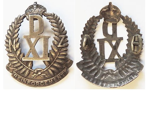 B04/03. 11th REINFORCEMENTS cap badge, silver, D over XI