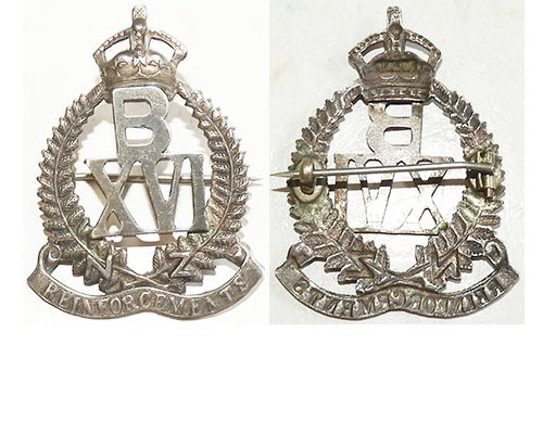 B04/061a 16th REINFORCEMENTS cap badge, frame with B over XVI