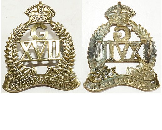 B04/069. 17th REINFORCEMENTS voided collar badge, G over XVII