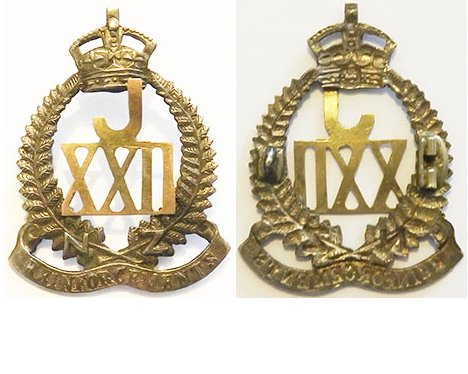 B04/103a. 22nd REINFORCEMENTS cap badge, JXXII at centre