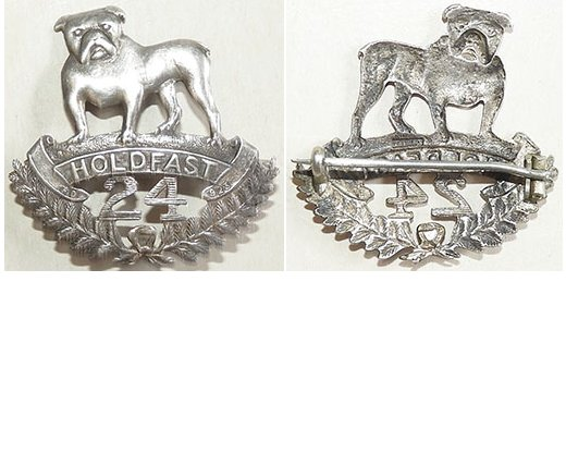 B04/117a. 24th REINFORCEMENTS cap badge, small size, silver