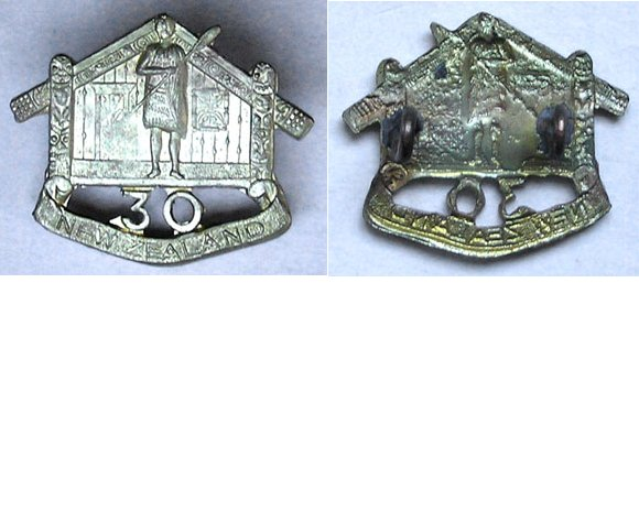 B04/153. 30th REINFORCEMENTS collar badge