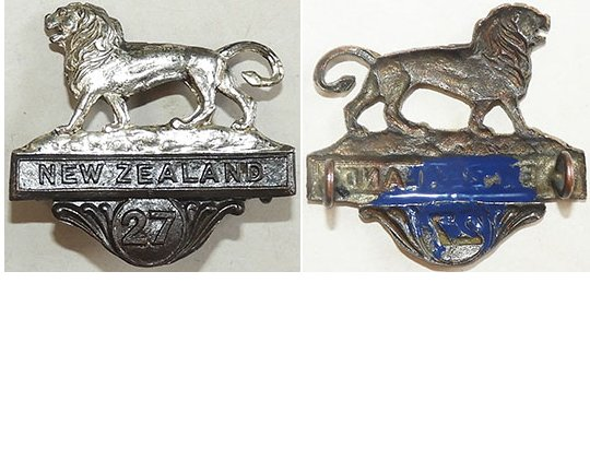 B04/134. 27th REINFORCEMENTS left collar badge, bronze & silver
