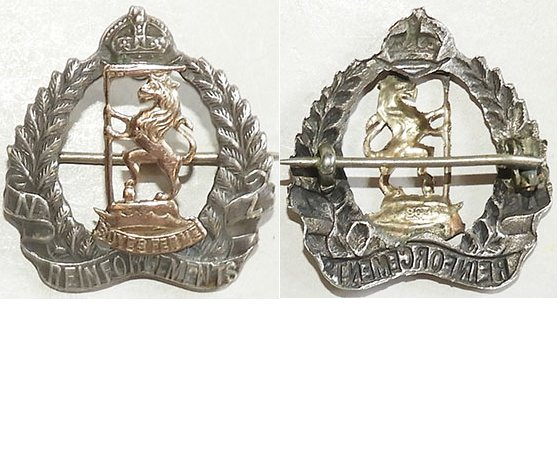 B04/179. NZRB REINFORCEMENTS sweetheart badge, silver & gold