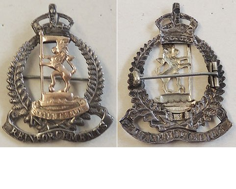B04/179. NZRB REINFORCEMENTS sweetheart badge, gold & silver