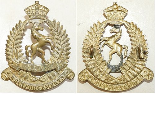 B04/186a. NZMR REINFORCEMENTS cap badge, Horse facing right
