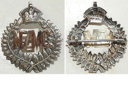 B04/210. NZMC (MEDICAL CORPS) gold & silver sweetheart badge