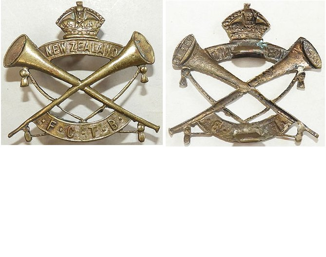 B04/251. FEATHERSTON CAMP TRUMPET BAND, cap badge, KC, Brass