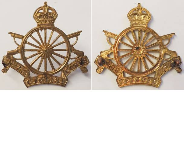 B04/268. NZ CYCLIST CORPS cap badge, brass, King's crown