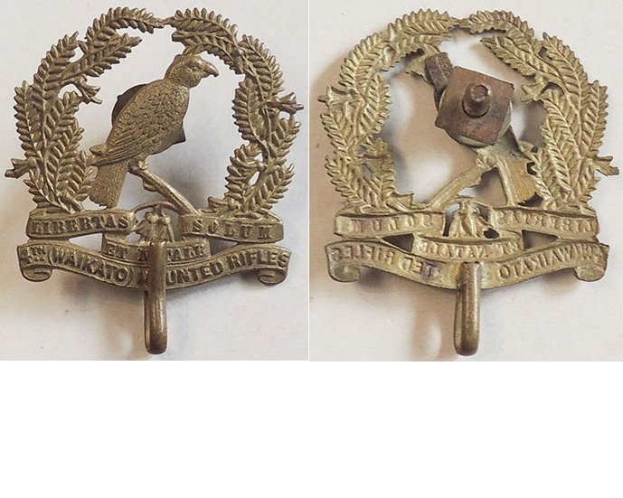 B05/028. 4th (WAIKATO) MOUNTED RIFLES, cap badge with hook
