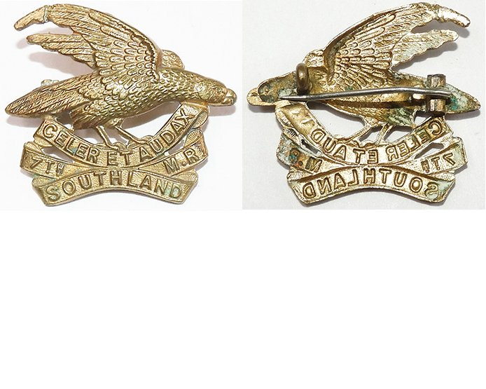 B05/051. 7th (SOUTHLAND) MOUNTED RIFLES, voided cap badge