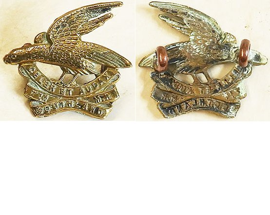 B05/054a. 7th (SOUTHLAND) MOUNTED RIFLES, brass left collar