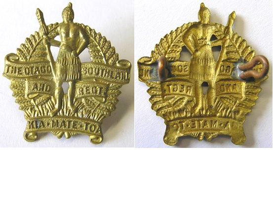 B06/042. OTAGO & SOUTHLAND REGIMENT cap badge, brass