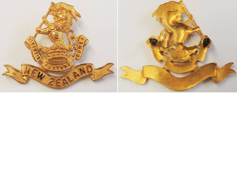 B06/048. 5th (WELLINGTON RIFLES) REGIMENT cap badge gilt
