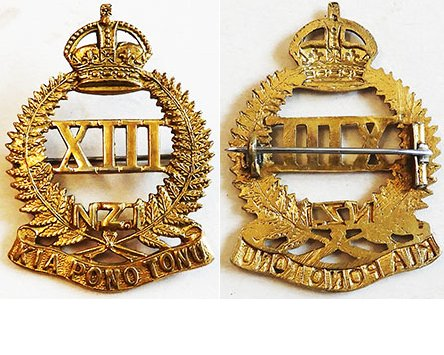 B06/133. 13th (NORTH CANTERBURY AND WESTLAND) REGIMENT gilt cap