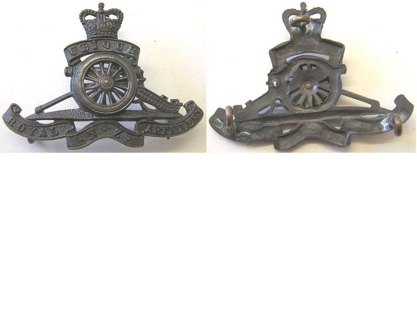 B08/064. ROYAL N.Z. ARTILLERY bronze cap badge, Queens crown