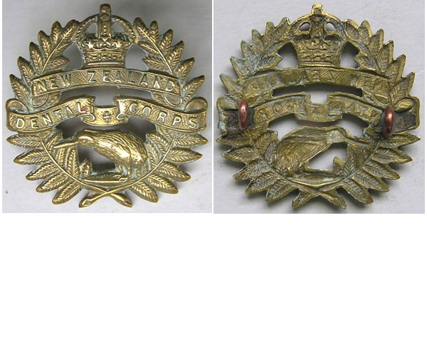 B08/114. NEW ZEALAND DENTAL CORPS brass cap badge, Kiwi centre
