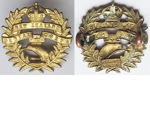 B08/125a. NEW ZEALAND DENTAL CORPS, brass right collar, Kiwi cen