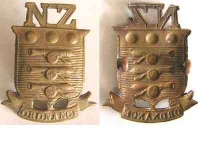 B08/259. NZ ARMY ORDNANCE CORPS brass cap badge, NZ on top