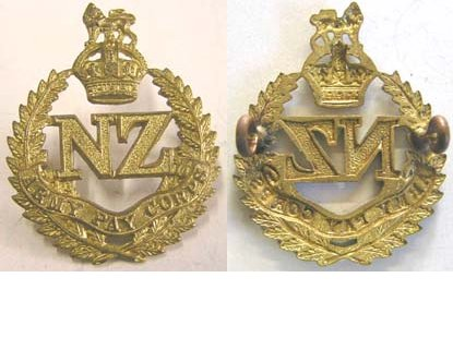 B08/285. NZ ARMY PAY CORPS, brass cap badge, NZ at centre KC