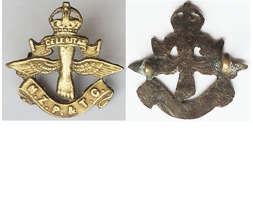 B08/317a. NZ POST & TELEGRAPH CORPS brass right collar badge