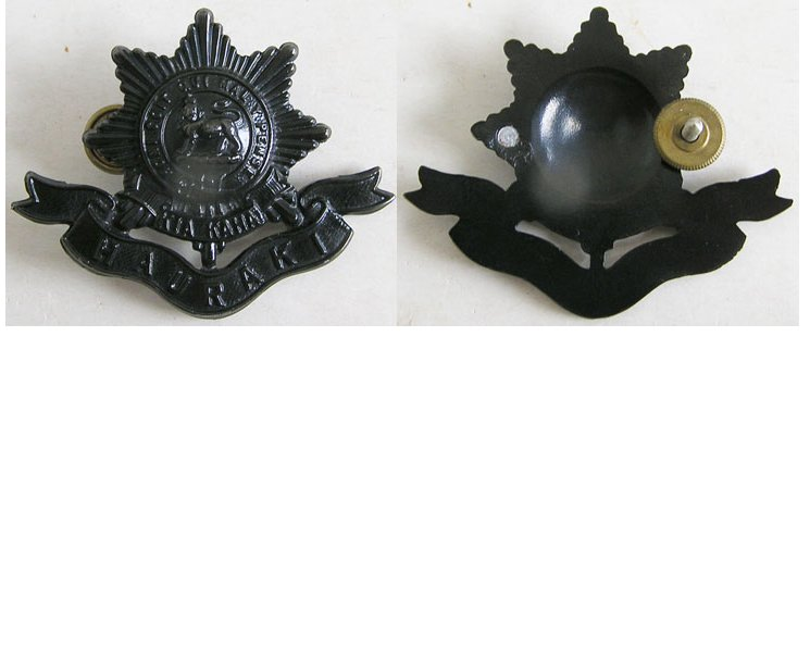 B09/018. 6th BATTALION (HAURAKI) RNZIR cap badge, shiny black