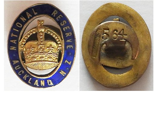 B11/006. NATIONAL RESERVE AUCKLAND NZ lapel badge, #564