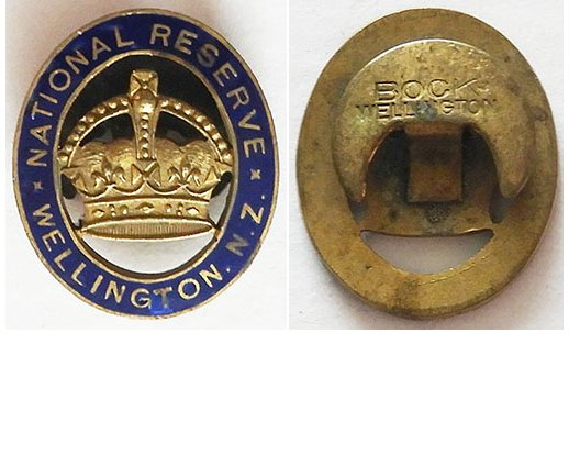 B11/006a. NATIONAL RESERVE WELLINGTON NZ lapel badge