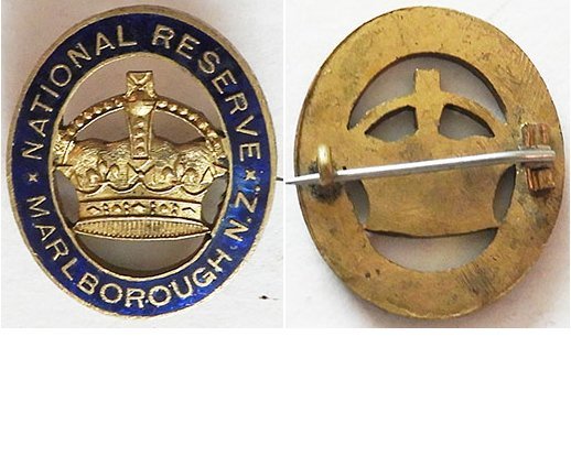 B11/006c. NATIONAL RESERVE MARLBOROUGH NZ lapel badge