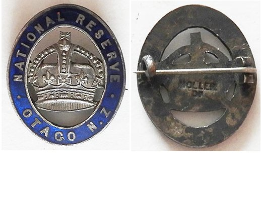 B11/007a. NATIONAL RESERVE OTAGO NZ lapel badge, silver - Moller