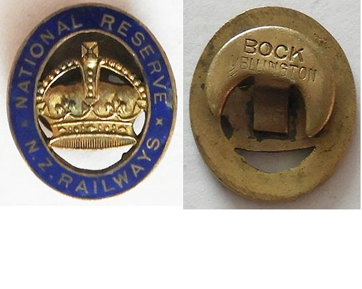 B11/009. NATIONAL RESERVE  NZ RAILWAYS lapel badge - Bock