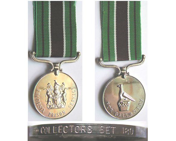BC0574. RHODESIA PRISON MEDAL FOR GALLANTRY, Numbered 180