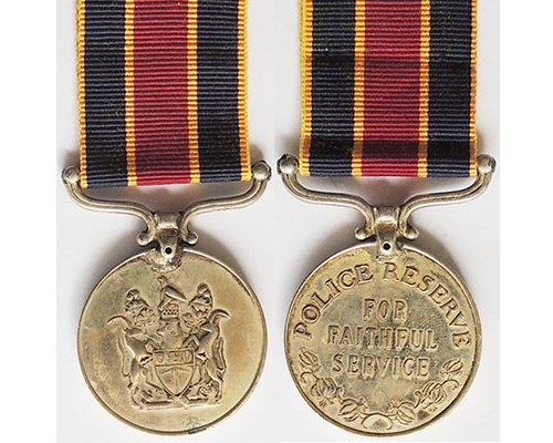 BC0576. RHODESIA POLICE RESERVE MEDAL FOR FAITHFUL SERVICE