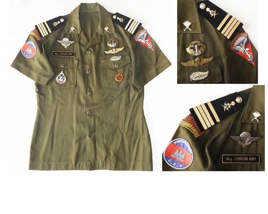 CAM101. RARE CAMBODIA 911 PARA MAJOR'S SHIRT
