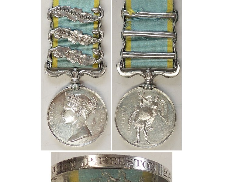 CM0006. CRIMEA MEDAL 1854-56, Three clasps - Preston 21st Rgt.