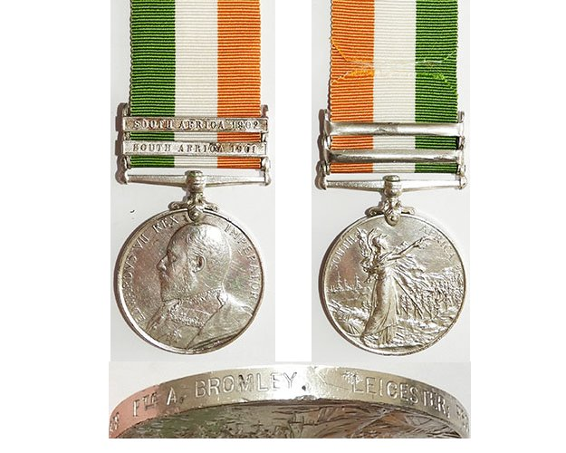 CM0069. KING'S SOUTH AFRICA MEDAL 1902, 2 bars - Leicester Regt.