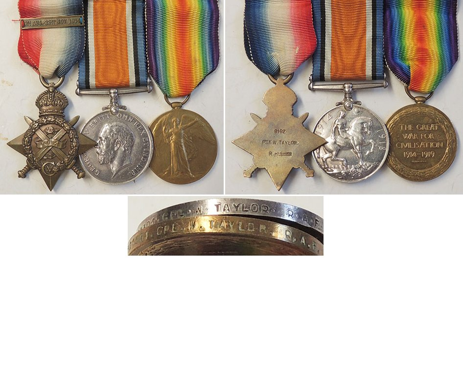 CM0085. 1914 STAR TRIO With Mons Bar - Rl.Hldrs & RAF