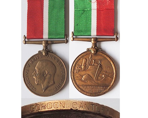 CM0214. MERCANTILE MARINE WAR MEDAL - GORDON CANTLEY