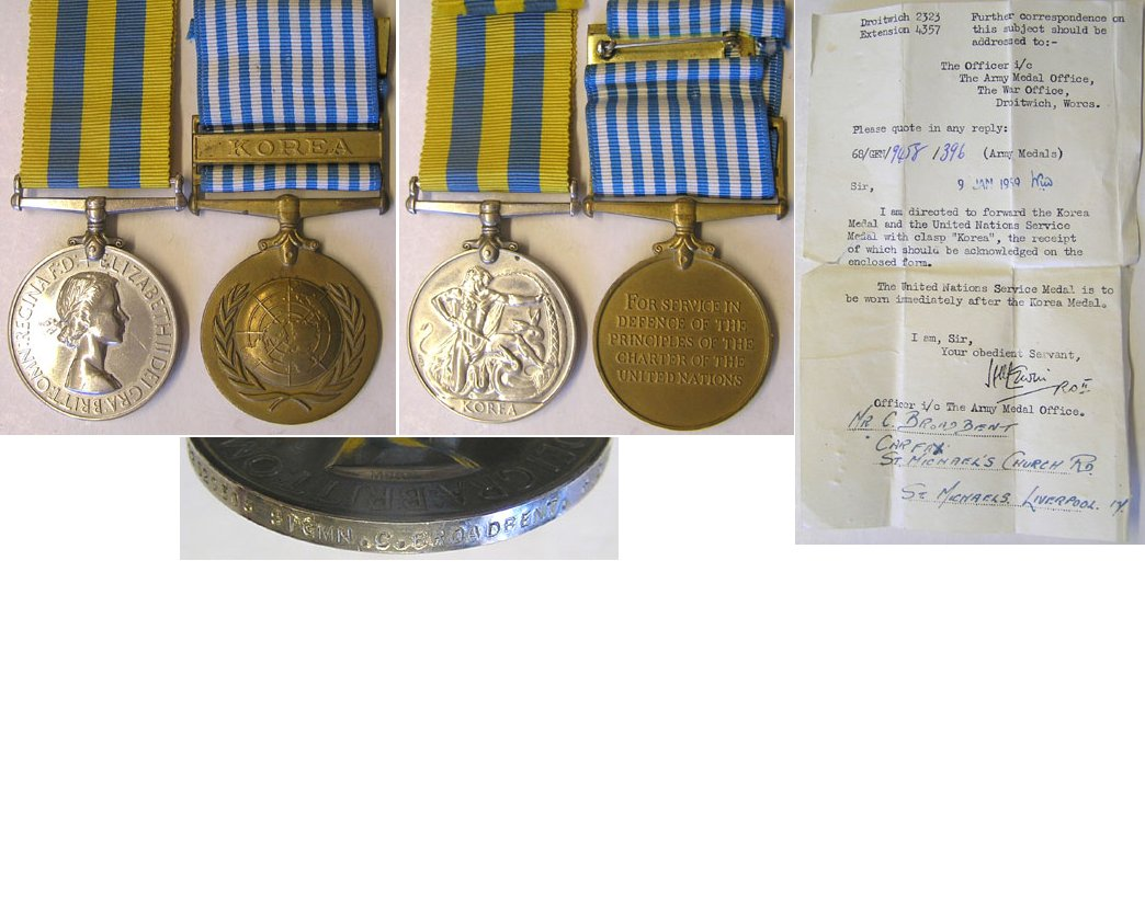 CM0612. BRITISH & UN KOREA MEDALS - Broadbent, Royal Signals