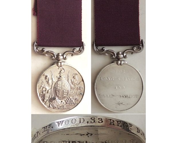 ESA015. ARMY LONG SERVICE & GOOD CONDUCT MEDAL VR - 33 Regt. DW