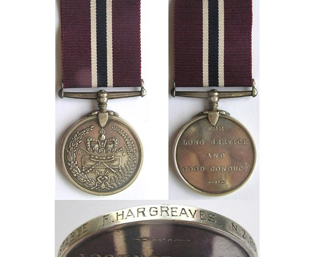 CM0361. NEW ZEALAND POLICE MEDAL -  No.1766 CONST. F. HARGREAVES
