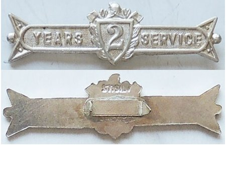 CM0376. UFBA 2 YEARS SERVICE clasp, Sterling silver