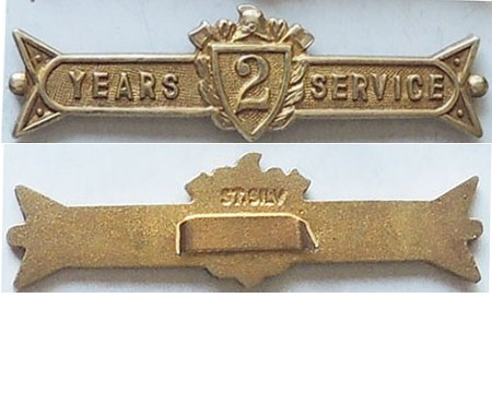 CM0377. UFBA 2 YEARS SERVICE clasp, Silver gilt