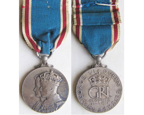 MIS005. KING GEORGE VI CORONATION MEDAL 1937