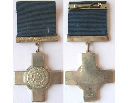 CM0451. COPY GEORGE CROSS, good quality Rhodium plate