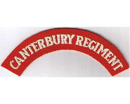 CST001. CANTERBURY REGIMENT, white on red with thick letters